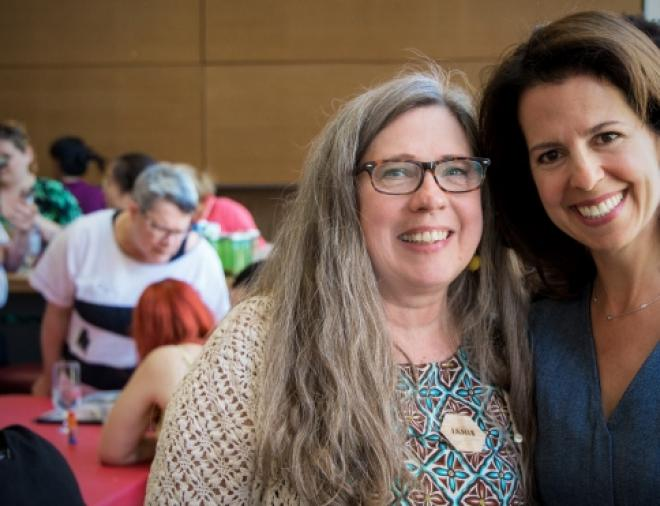 Pictured are Janis Timm-Bottos, Art Hives founder and associate professor of creative arts therapies, and Stephanie Rossy, vice-chair of the Rossy Family Foundation.