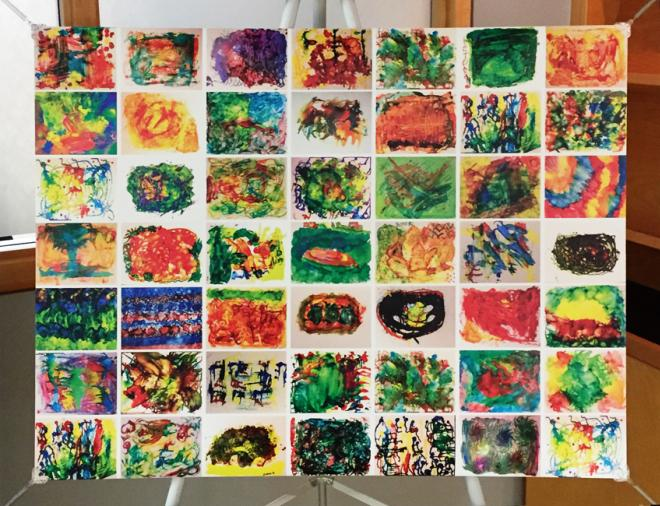 Community art project made by seniors with and without disabilities, from the Sage and Time art project of L'Arche Sudbury.